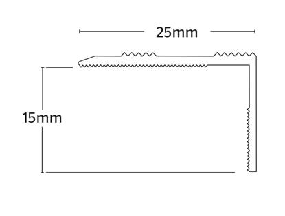 Nosing 15mm S/A - Matt Silver    .90m